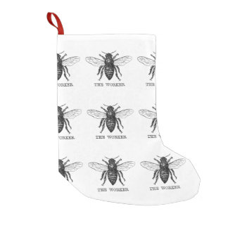 Worker Bee Honeybee Vintage Black Art Illustration Small Christmas Stocking