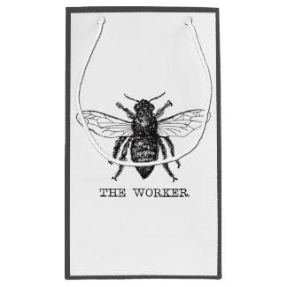 Worker Bee Honeybee Vintage Black Art Illustration Small Gift Bag