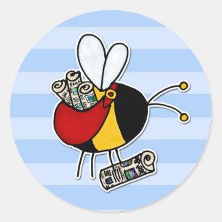 worker bee - paperboy round sticker