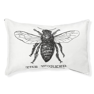 Worker Bee Pen and Ink Illustration Pet Bed