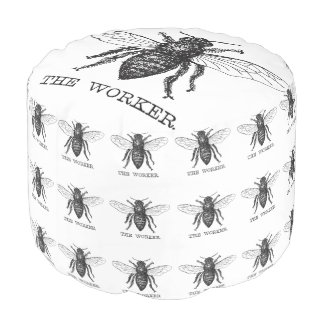 Worker Bee Pen and Ink Illustration Pouf