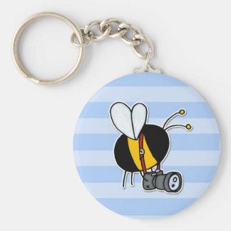 worker bee - photographer basic round button keychain