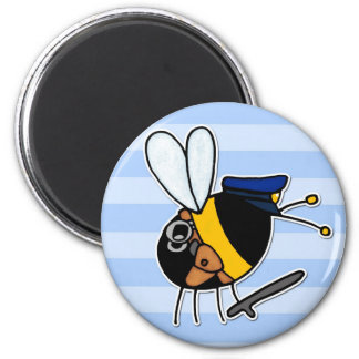 worker bee - police officer 2 inch round magnet
