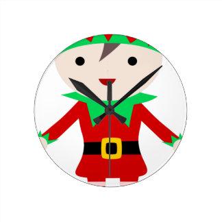 Worker Elf Round Clock
