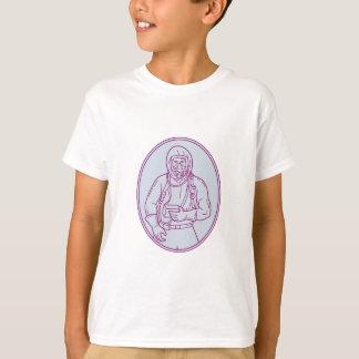 Worker Haz Chem Suit Oval Mono Line T-Shirt