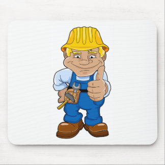 Worker With Hard Hat Mouse Pad