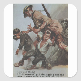 Workers Propaganda Poster Square Sticker