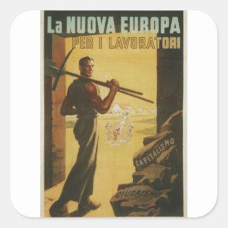 workers Propaganda Poster Square Sticker