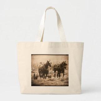Working Amish Horses Sepia Large Tote Bag