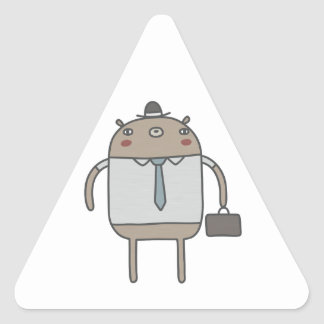Working Bear Triangle Sticker
