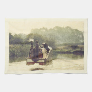 Working boat on the Ashby canal Kitchen Towel
