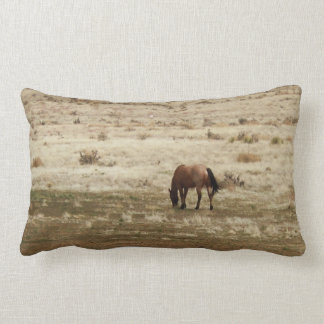 Working Buckskin Cow Horse Grazes Western Style Lumbar Pillow