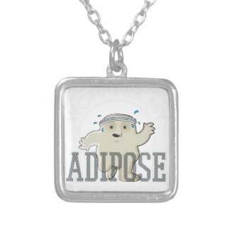 Working My Adipose Off - Exercise, Working Out Silver Plated Necklace