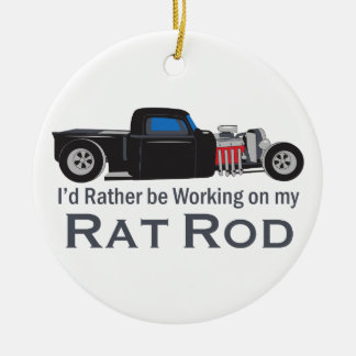 Working On Rat Rod Ceramic Ornament