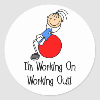 Working On Working Out Sticker