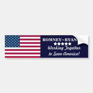 Working Together to Save America! Romney~Ryan 2012 Bumper Sticker