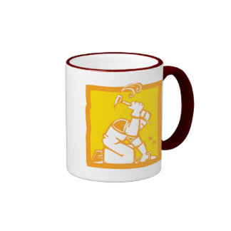 Workman with a Hammer Ringer Coffee Mug