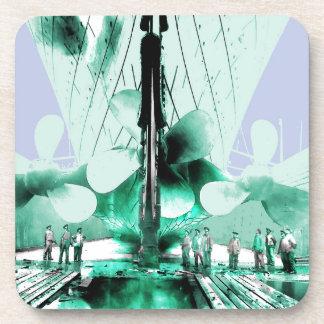 Workmen Beside Titanic Propellers Coaster