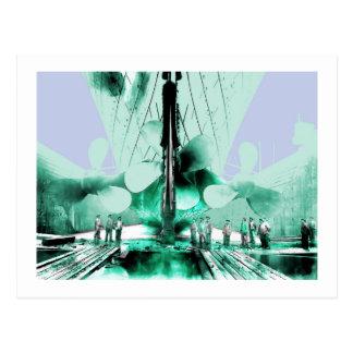 Workmen Beside Titanic Propellers Postcard