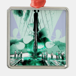 Workmen Beside Titanic Propellers Silver-Colored Square Ornament