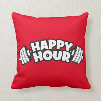 Workout - Happy Hour - Funny Gym Motivational Throw Pillow