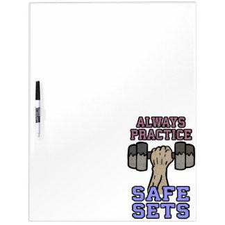 Workout Humor - Practice Safe Sets - Novelty Gym Dry Erase Board