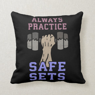 Workout Humor - Practice Safe Sets - Novelty Gym Throw Pillow