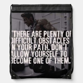 Workout Inspirational Words - Obstacles Drawstring Bag