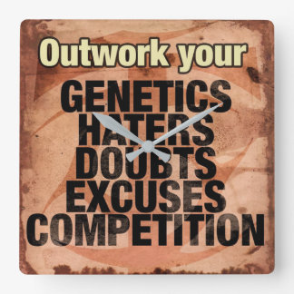 Workout Inspirational Words - Outwork - Motivation Square Wall Clock