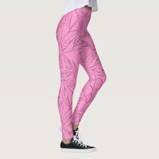 Workout leggings in pink floral pattern