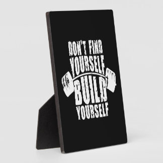 Workout Motivation - Build Yourself - Barbell Plaque