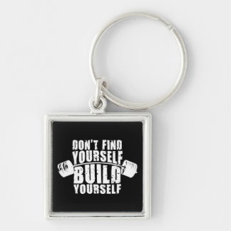 Workout Motivation - Build Yourself - Barbell Silver-Colored Square Keychain