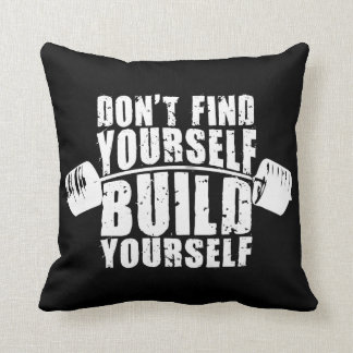 Workout Motivation - Build Yourself - Barbell Throw Pillow