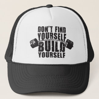 Workout Motivation - Build Yourself - Barbell Trucker Hat