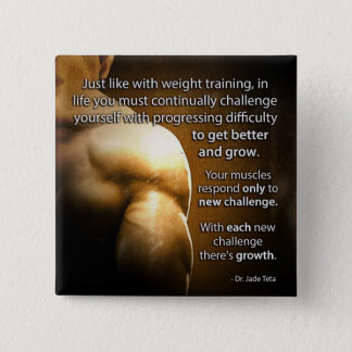 Workout Motivational Words - Challenge and Growth 2 Inch Square Button