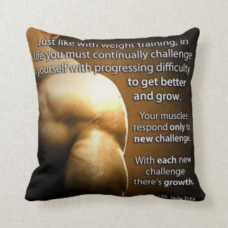 Workout Motivational Words - Challenge and Growth Throw Pillow