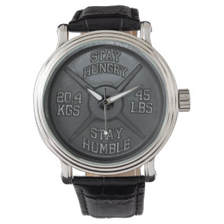 Workout - Stay Hungry, Stay Humble - Barbell Plate Wrist Watches