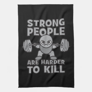 Workout - Strong People Are Harder To Kill, Kawaii Kitchen Towel