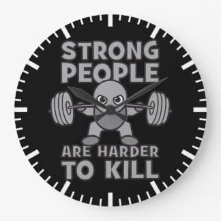 Workout - Strong People Are Harder To Kill, Kawaii Large Clock