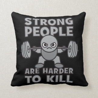 Workout - Strong People Are Harder To Kill, Kawaii Throw Pillow