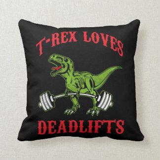 Workout - T-Rex Loves Deadlifts - Bodybuilding Throw Pillow