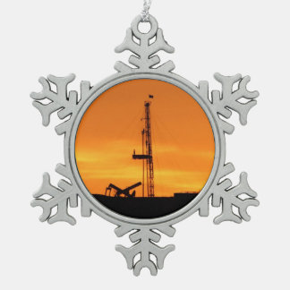 Workover Rig Silhouette at Sunset Snowflake Pewter Christmas Ornament