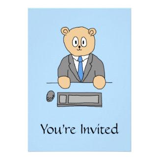 Works in an Office Blue Tie Custom Invitation