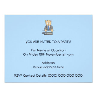 Works in an Office Blue Tie Invitations