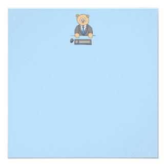 Works in an Office. Blue Tie. Custom Invitations