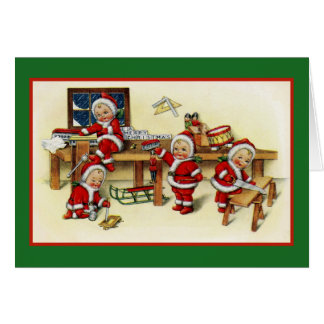 Workshop of Children in Santa Suits Card