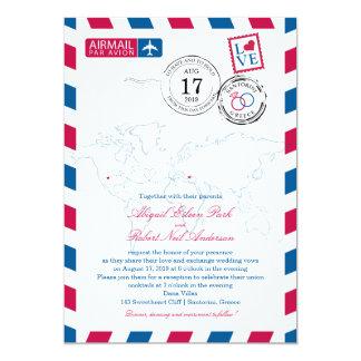 World Airmail USA & Santorini Greece   Wedding Card