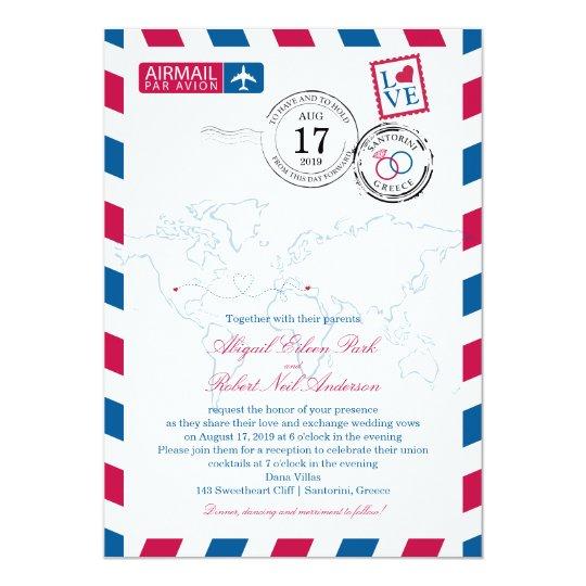 World Airmail USA & Santorini Greece | Wedding Card
