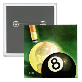 World as Cue Ball 2 Inch Square Button