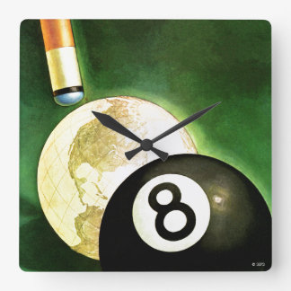 World as Cue Ball Square Wall Clock